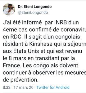 Kinshasa: Un 4ème cas confirmé de Coronavirus.